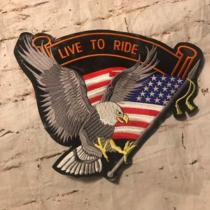 Motorcycle Eagle Live to Ride Sew-On Patch